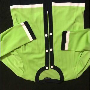 Ming Wang knit jacket lime green Navy Blue